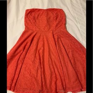 Strapless orange dress with lace detail. Size L
